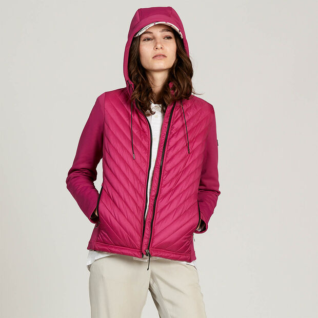 Hybrid quilted jacket with thermo-regulation