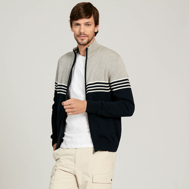 Zipped sailor's cardigan