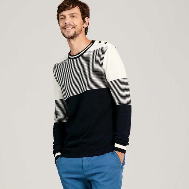 Gestreifter Pullover im Marine-Stil
