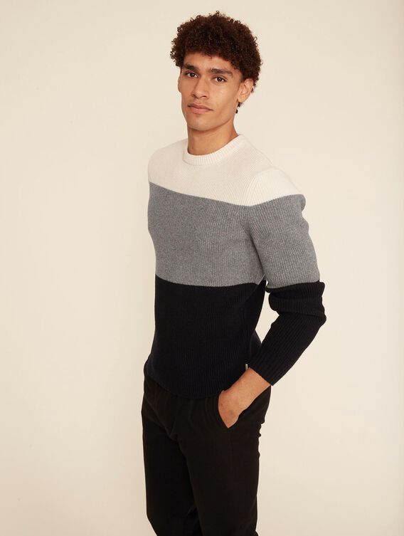 Pull en laine colorblock