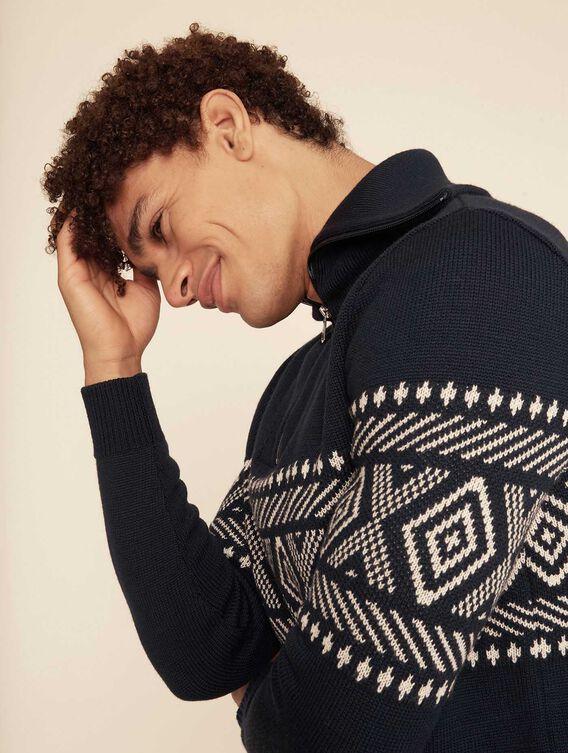 Jacquard full-zip jumper