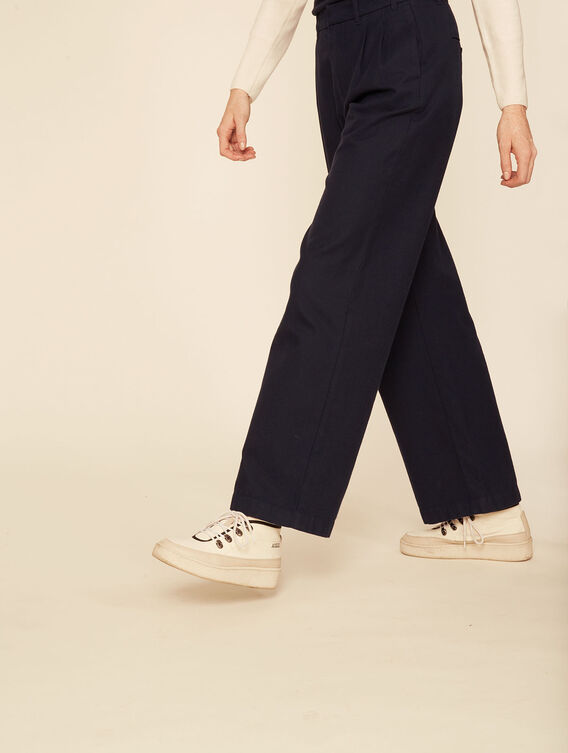 Pantalon large aspect lainage