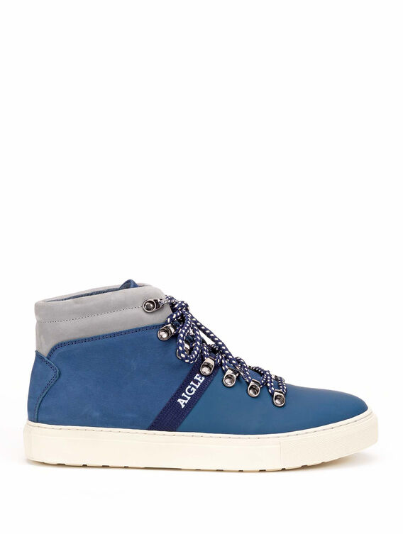 Men's leather high-top trainers