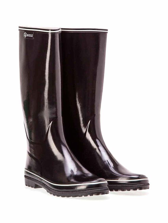 Women's glossy rubber boots