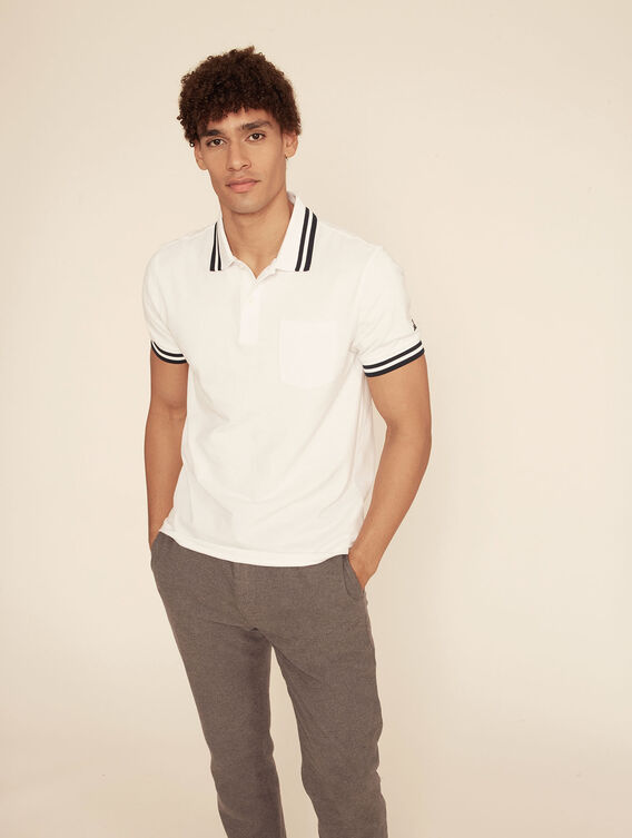 Double-striped 100% cotton polo shirt