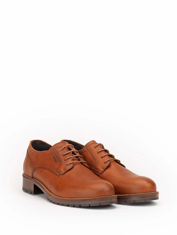Women's leather Derby shoes with low heel