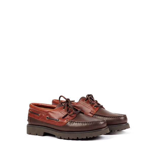 Unisex's laced leather moccasins