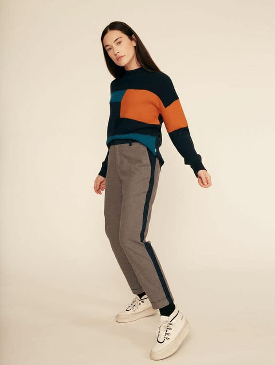 Wool-effect fabric trousers