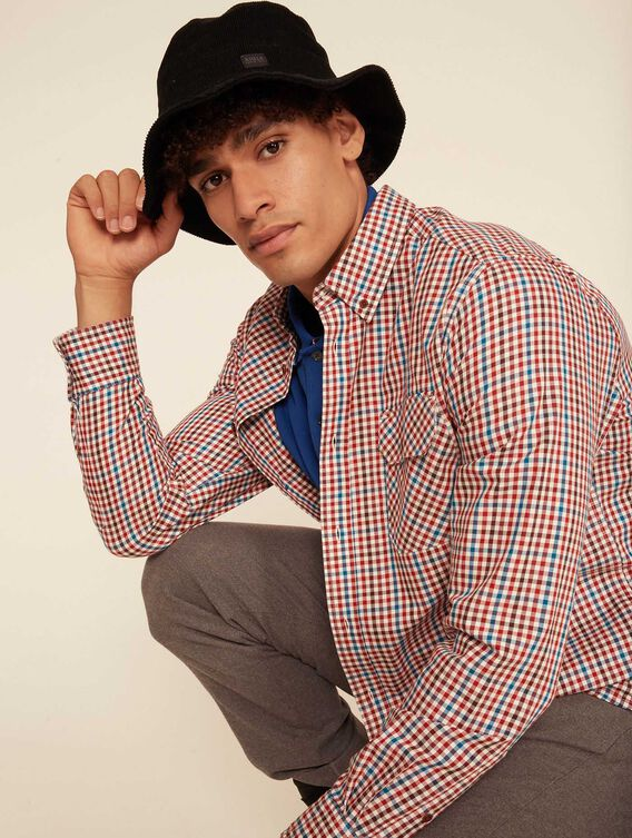 Chemise à carreaux coupe-droite
