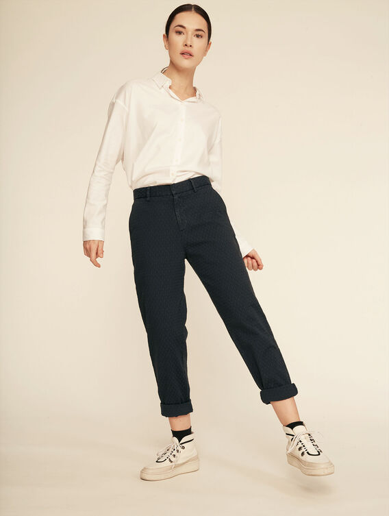 Textured cotton trousers