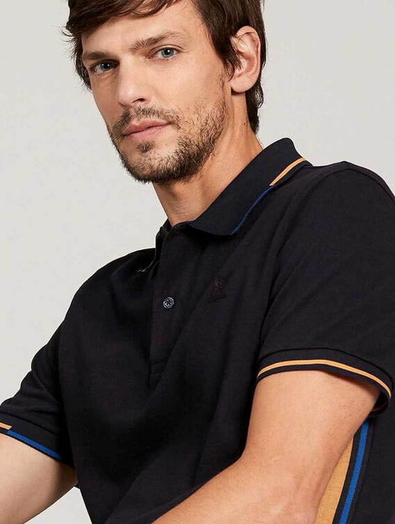 Short-sleeved polo shirt with heat regulation