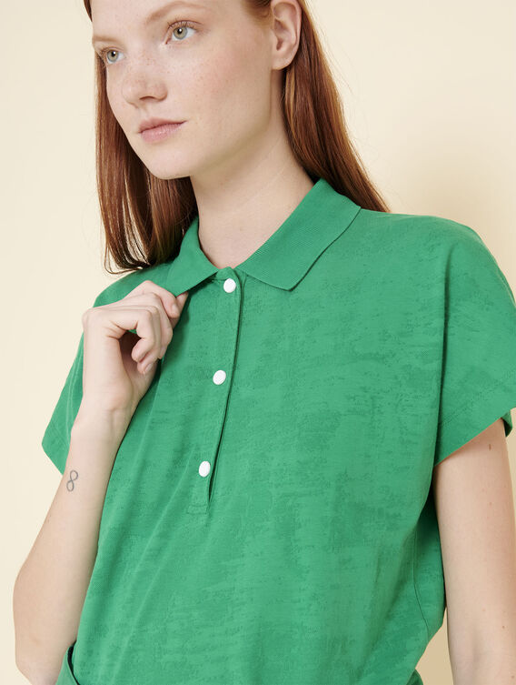 Crease-resistant patterned polo shirt