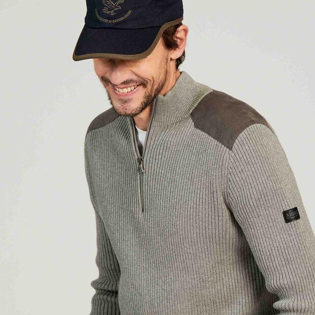 Pullover mit Stehkragen und Einsätzen