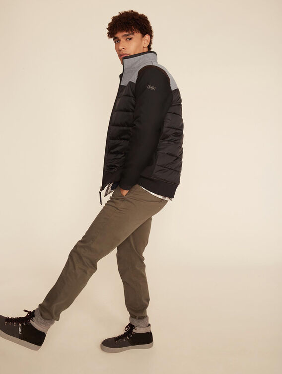 Mid-season mixed-fabric jacket