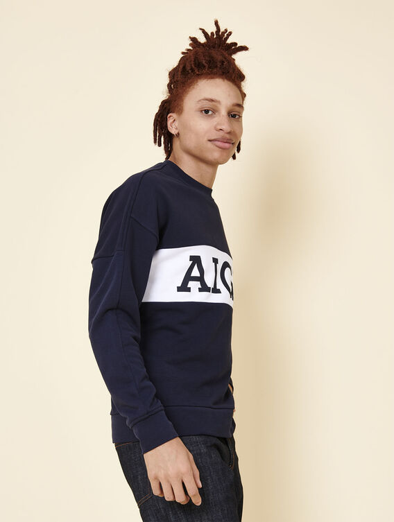 Loose fit cotton fleece sweatshirt