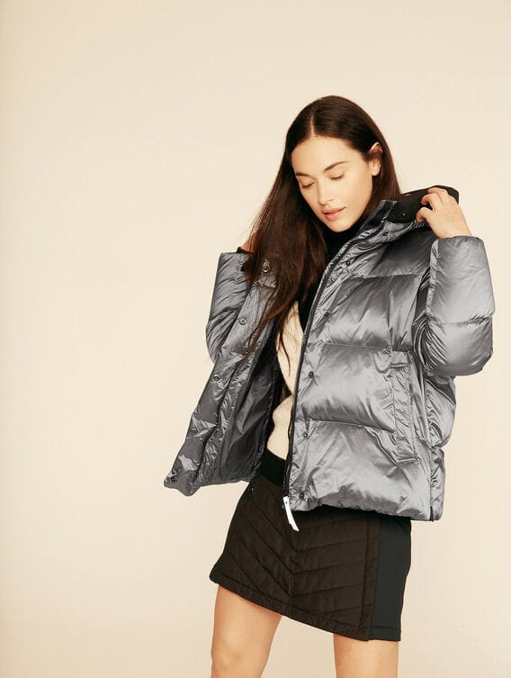 Short iridescent down jacket