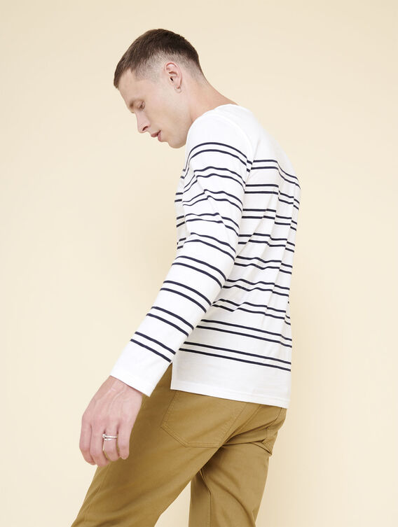 Langärmeliger Pullover im Marine-Look