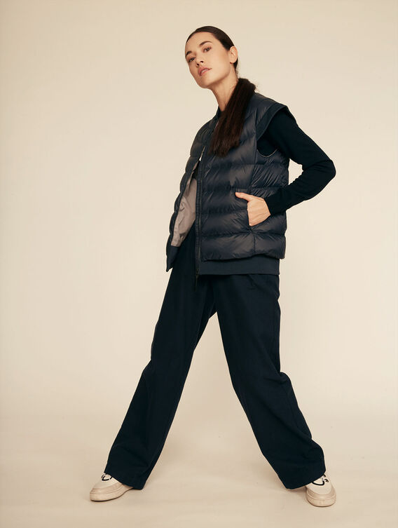 Warm water-repellent sleeveless quilted jacket
