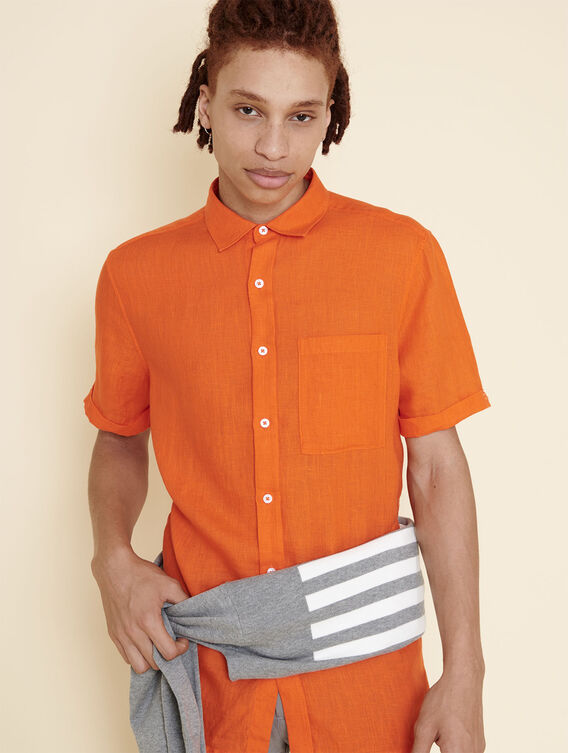Lightweight linen short-sleeved shirt