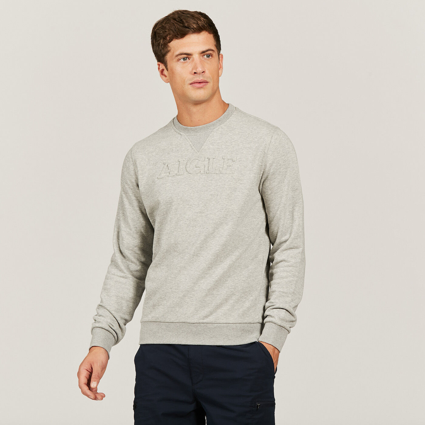 Homme Aigle Pull Sweat Roulé Col Rond RgWdaxp