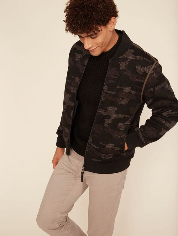 Camouflage fleece bomber jacket