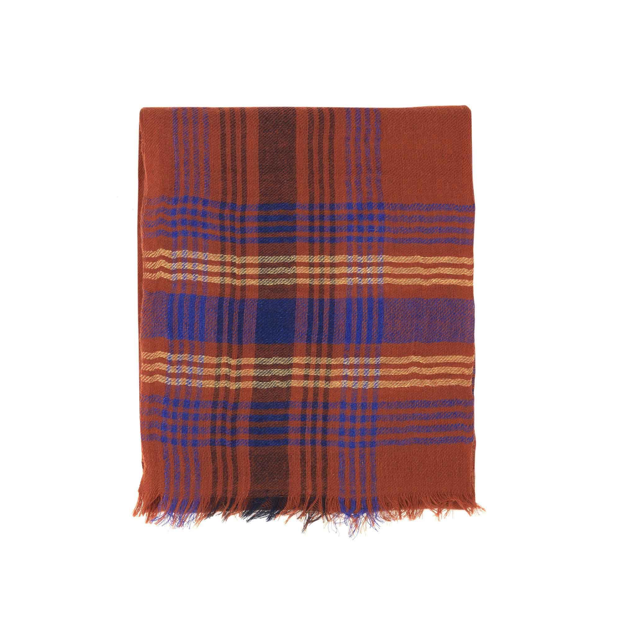 Chèche en laine à carreaux homme