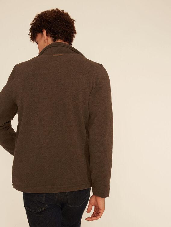 Knit effect fleece jacket