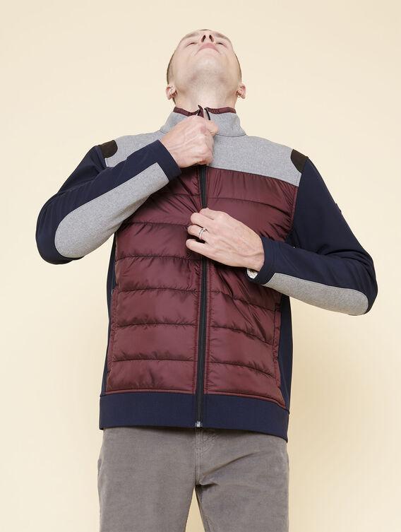 Mid-season mixed-fabric jacket