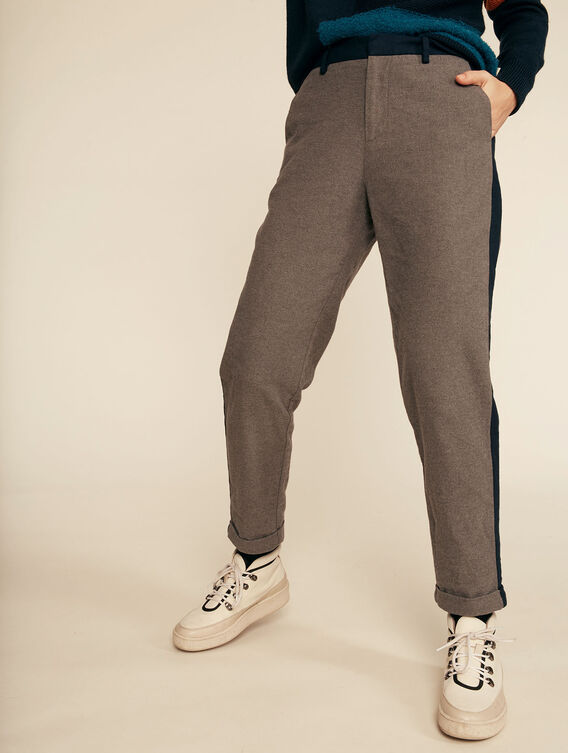 Pantalon tissu aspect lainage