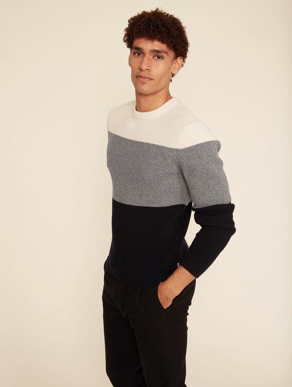 Colour block wool jumper