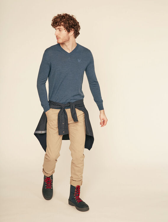 Pullover mit V-Ausschnitt, 100 % Merinowolle