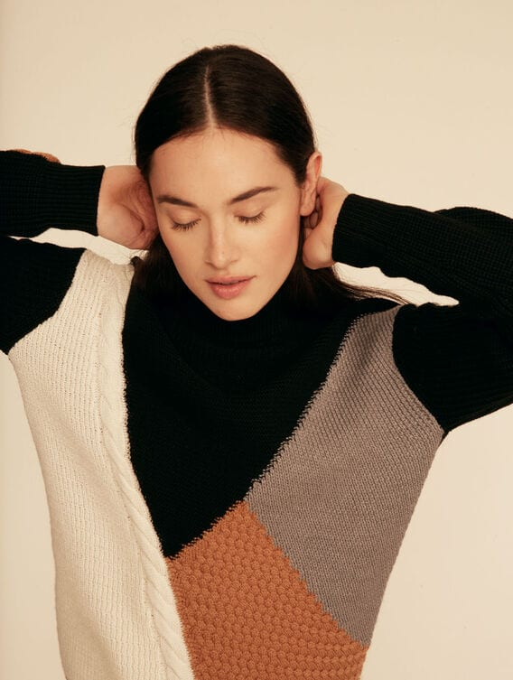 Patchwork Merino wool roll-neck jumper