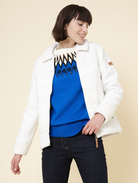 Hybrid fleece bomber jacket