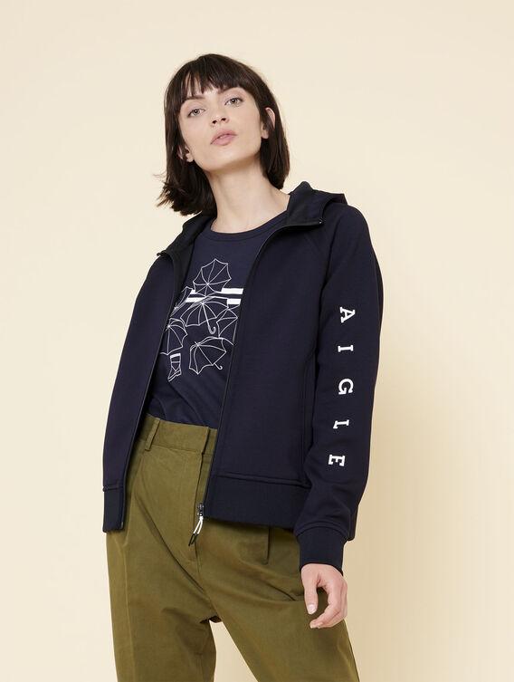 Zipped fleece sweatshirt