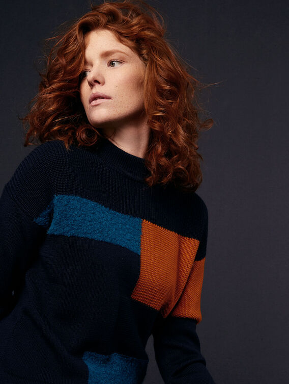 Patchwork wool and acrylic jumper