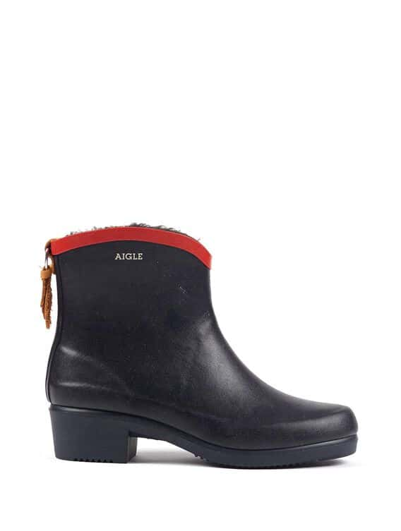 Women's fur-lined rubber ankle boots