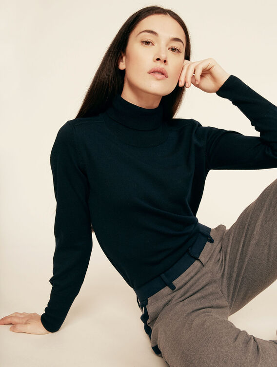 Fine Merino wool roll-neck jumper