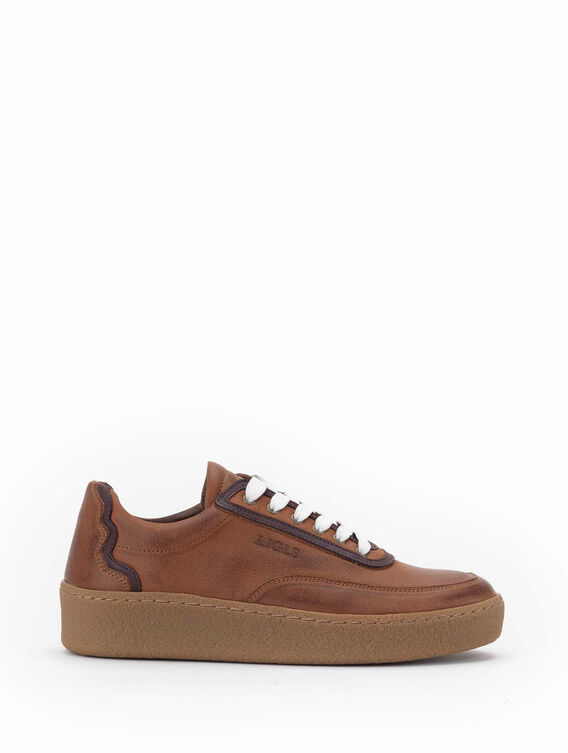 Women's thick-soled leather trainers