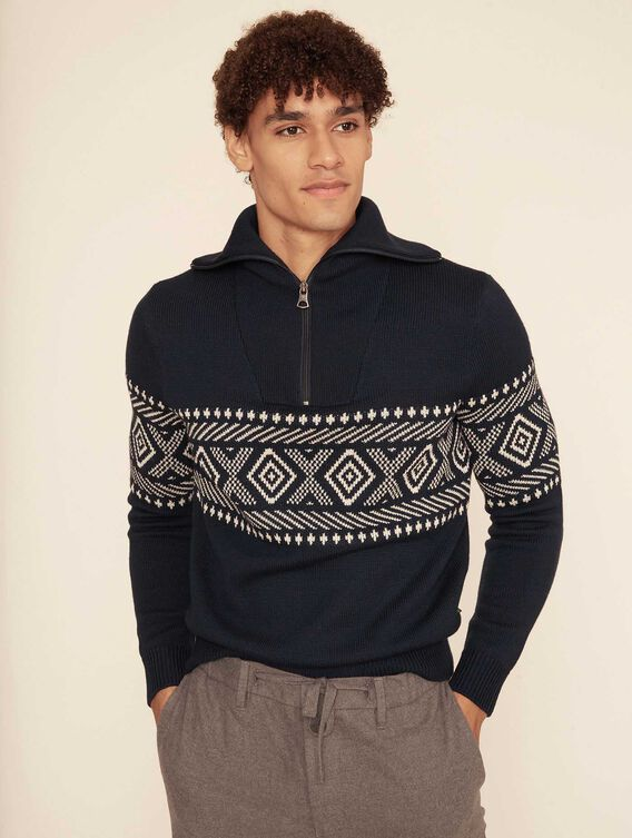 Jacquard full-zip jumper