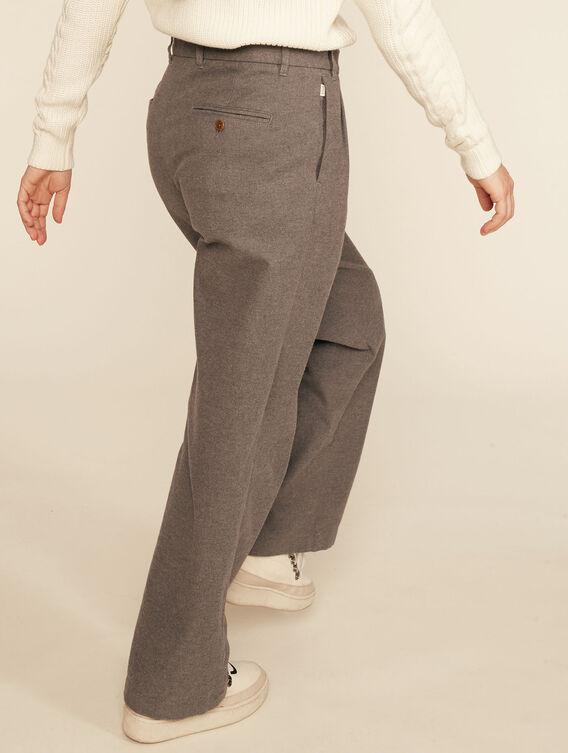 Wide-leg wool-effect trousers