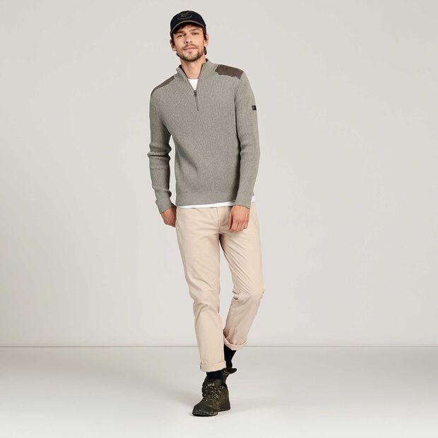 Full-zip jumper with yoke detail