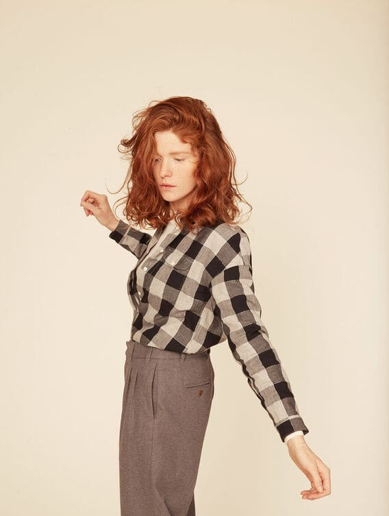 Lurex check shirt