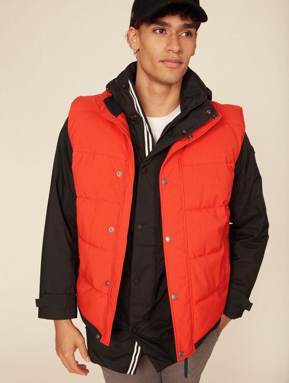 Warm water-repellent sleeveless jacket