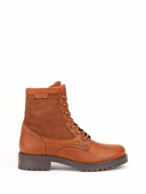 Women's laced leather ankle boots