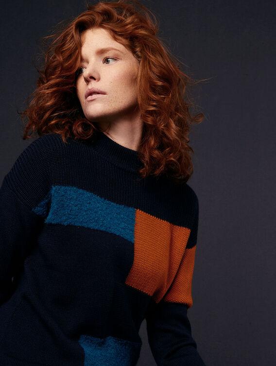 Pull patchwork en laine et acrylique
