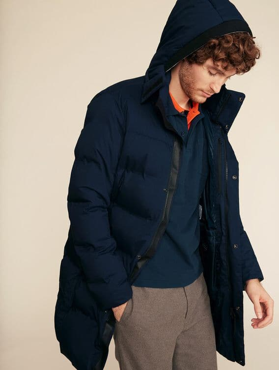 Long warm quilted jacket