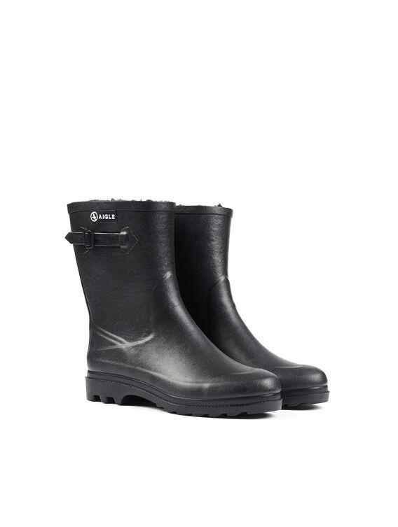 Men's fur-lined rubber ankle boots