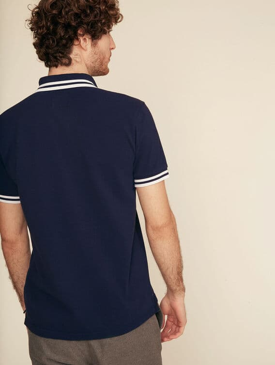 Double-striped 100% cotton polo shirt