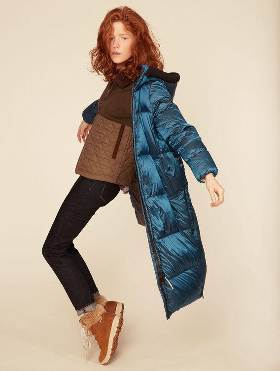 Long iridescent down jacket