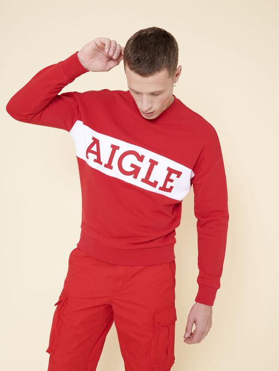 Loose fit cotton fleece sweatshirt